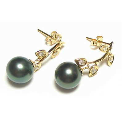 14 K Yellow Gold 8 9mm Tahitian Black Pearl Dangle Earrings W/ 0.1ct Diamonds by Ebay Seller