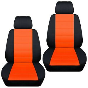 Fits-2016-2019-Kia-Picanto-front-set-car-seat-covers-black-and-orange