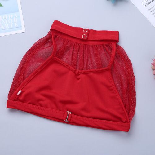 Girls Kids Ballet Dance Praise Lyrical Dress Costume Crop Tops Tutu Skirt Outfit