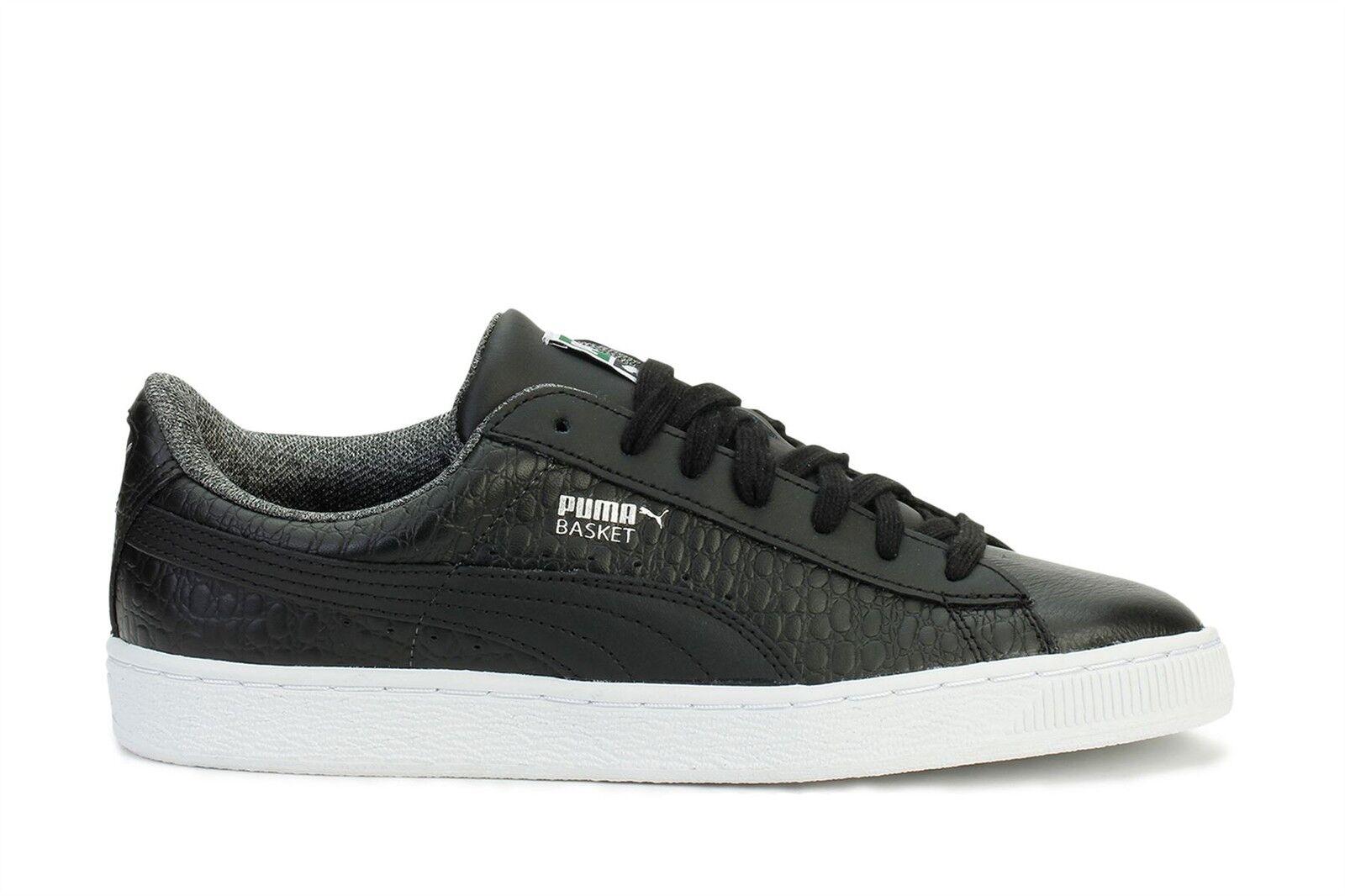 Zapatillas Clásico para hombre Puma Basket Clásico Zapatillas Negro Con Textura 36019102 eb155f