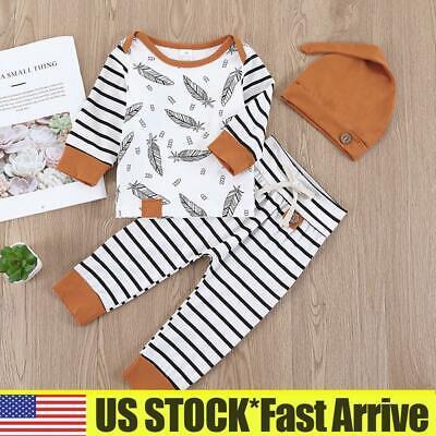 3pcs Baby Toddler Clothes Boys Hat+T shirt Pants Tracksuit Outfits Set Cartoon