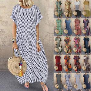 Women Long Sleeve Cotton Long Shirt Dress Crew Neck Polka Dot Midi Sundress Plus