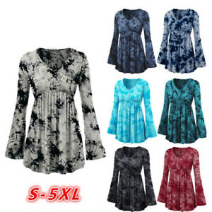 Women-V-Neck-Tie-Dye-Print-Long-Flare-Sleeve-Tops-Pleated-Casual-Blouse-Shirt