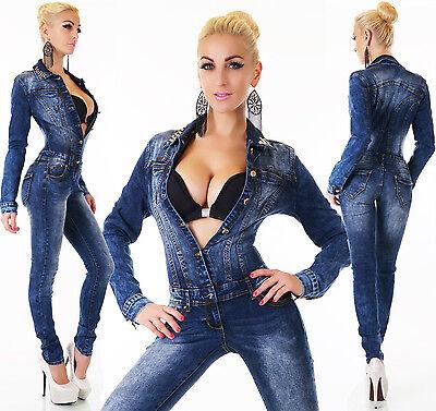 Xs Donna Colletto Borchiato Denim Jeans Tuta Tuta S/m/l/xl 2019 Official