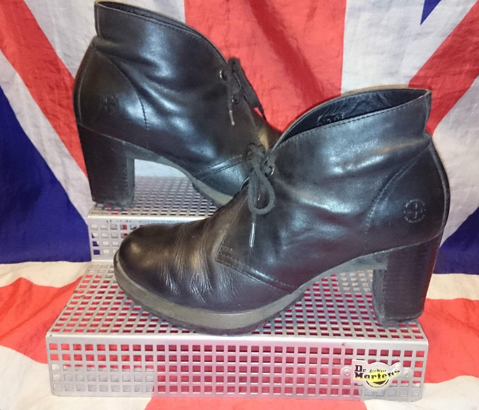 Zapatos casuales salvajes Viviana * Suave Cuero Negro Grueso talón Zapato Bota * Victoriano * Steampunk * Goth * Punk * 8