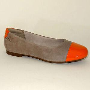 Zapatos-ECCO-Bailarina-de-piel-SIN-CIERRES-Beis-Naranja-Zapatos-Talla-UE-33