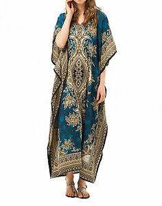 Free-Size-New-Long-Kaftan-Hippy-Boho-Maxi-Dress-Women-Caftan-Top-Dress-Gown