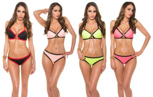 ☀️SEXY Push Up BIKINI Neckholder Multicolor Triangel Badeanzug Beachwear Tankini
