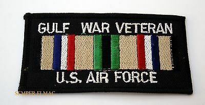 GULF WAR VETERAN US AIR FORCE PATCH EMB SERVICE RIBBON USAF MILITARY BIKER PATCH