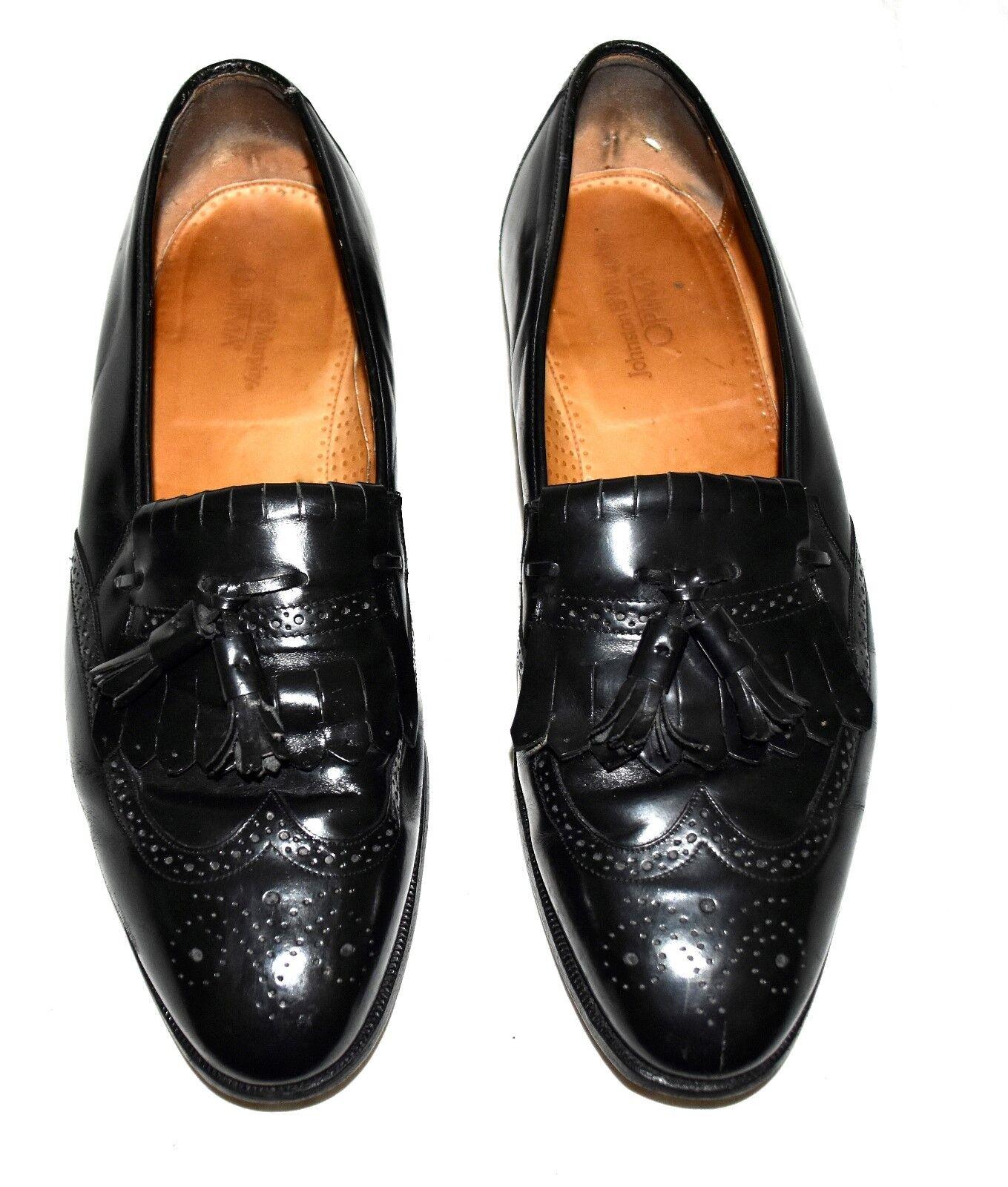 Johnston & Murphy Optima Black Kilt Fringe &Tassels Leather Mens Loafers Sz 12 D