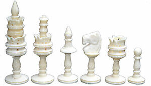 Camel-Bone-Collectible-Handcarved-Lotus-Design-Chess-Set-King-4-034-32-Chess-Pcs