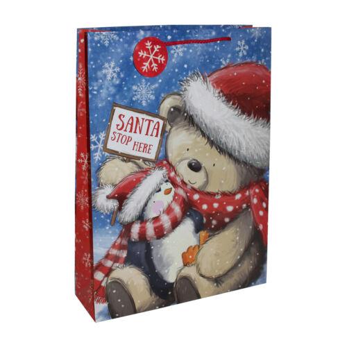 Cadeau De Noël Sac Cadeau Avec étiquette-Grand 45x33x10cm Ours Mignon