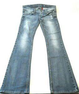 Guess-Womens-Jeans-Size-26-Distressed-Foxy-Flare-Leg-Stretch-Blue-Denim