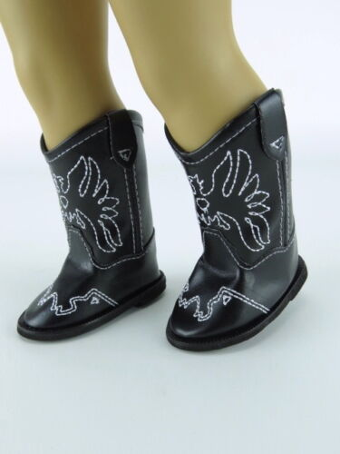 Black Cowboy Boots for 18/'/' dolls by American Fashion World New