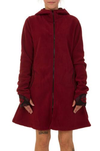 Ladies 3//4 Length Fleece Jacket Pixie Hoodie Hippie Festival Boho Polar Coat