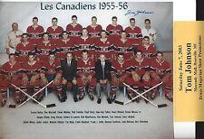 Tom Johnson 1955-56 Montreal Canadiens  AUTOGRAPHED team  8x10 w  COA