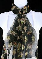 Cartoon Bulldog Scarf Womens Funny Dog Animal Pet Scarfs Gift Black Scarves