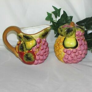 MAJOLICA-CREAM-amp-SUGAR-BOWL-SET-FRUIT-STYLE-EYES-BY-BAUM-BROS-VINTAGE-KITCHEN