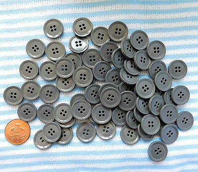70 grey vintage buttons 3/4 inch (20 mm) approx. Plain gray buttons