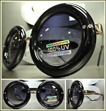 CLASSIC VINTAGE RETRO Style SUN GLASSES Unique Round Black & Gold Fashion Frame
