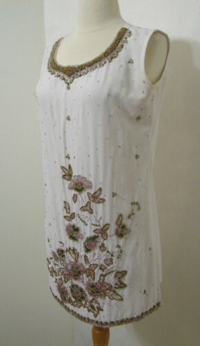 VINTAGE Tunic Dress Top Sheer White Heavily Floral