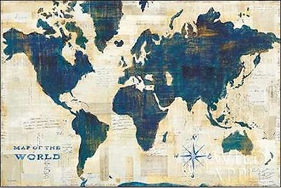 Sue Schlabach: World Map Collage Keilrahmen-Bild Leinwand Weltkarte modern blau