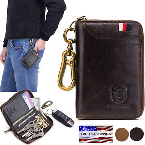 7407606277984 Image is loading Multifunctional-Genuine-Leather-Wallet-Key-Holder-Case- Keychain-