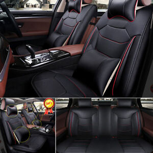 Deluxe-PU-leather-Car-Seat-Cover-Full-Front-Rear-Cushion-5-Seat-Pillow-Universal