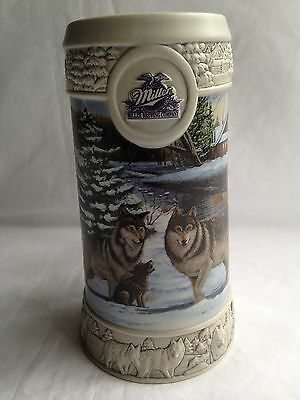 Miller Beer Stein December Dusk by Eric Bryant 1999 Holiday Wolves Wolf Brewing