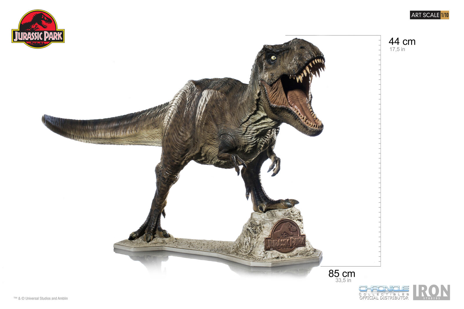 JURASSIC PARK T-Rex Art Scale 1 10 Iron Studios Statue Dinosaur from 1993 Movie