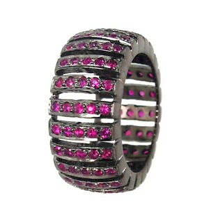 Genuine-1-63-Ct-Ruby-Gemstone-Band-Ring-Solid-Sterling-Silver-Designer-Jewelry