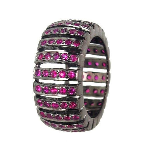 Genuine 1.63 Ct Ruby Gemstone Band Ring Solid Sterling Silver Designer Jewelry