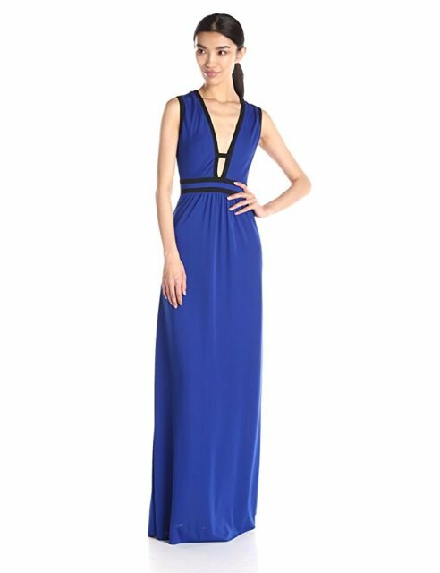 ebf5e6027f BCBG MAXAZRIA Juliette Deep V-neck Royal Blue Gown Dress Size XS for ...