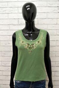 Maglia-MARELLA-Donna-Taglia-M-Maglietta-Blusa-Shirt-Smanicato-Woman-Cotone-Verde
