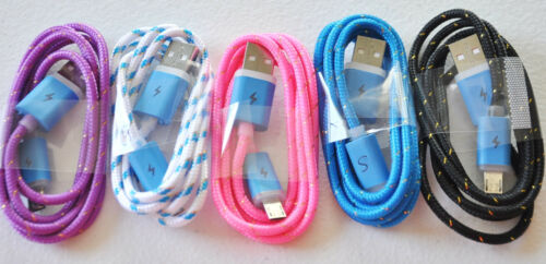 FLASH BRAIDED LED light glow MICRO USB charger cable FOR samsung GALAXY S6+ S4