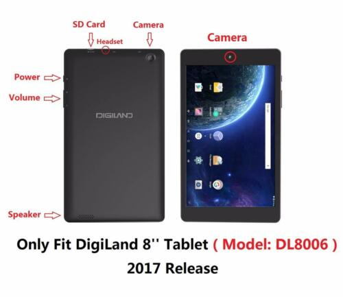 """TPU Cover Case and Screen Protector for Digiland DL8006 8/"""" Inch Tablet 2017"""