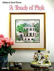 Counted-Cross-Stitch-Touch-of-Pink-Charleston-House-Custom-Kit-Vintage-1993