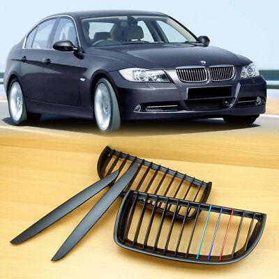 2005-2008 M-Color For BMW 3-Series E90 / E91 Matte Black Metal Look Front Grille