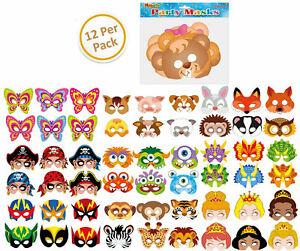 12-Cardboard-Paper-Masks-Loot-Party-Bag-Fillers-Costume-Kids-Fancy-Dress-Gift