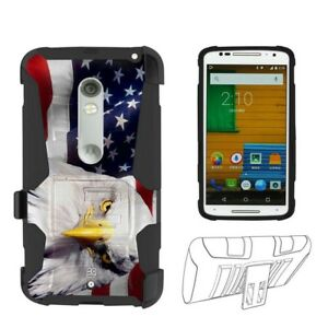 100% authentic 91d9c ef5b5 Details about Armor Hybrid Case For Moto X Play /Droid Maxx 2 Belt Clip  Holster US Flag Eagle