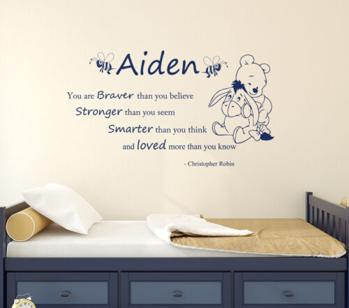Personalized Name Wall Decal For Boy Winnie the Pooh Decal Quote Decor aa297