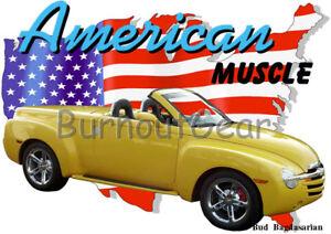 2005 Yellow Chevy SSR Pickup Truck Custom Hot Rod USA T-Shirt 05 Muscle Car Tees T-shirty