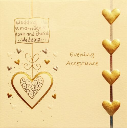Wedding Invitation Evening Acceptance Card ~ Lovely Small Card ~ Made In UK