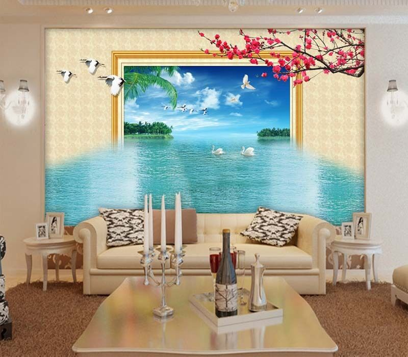 Incessant bluee Beach 3D Full Wall Mural Photo Wallpaper Printing Home Kids Decor
