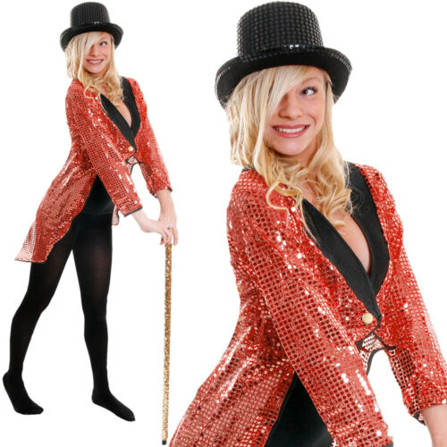 RED SEQUIN TAILCOAT UNISEX CABARET FANCY DRESS CIRCUS RINGMASTER DANCE COSTUME
