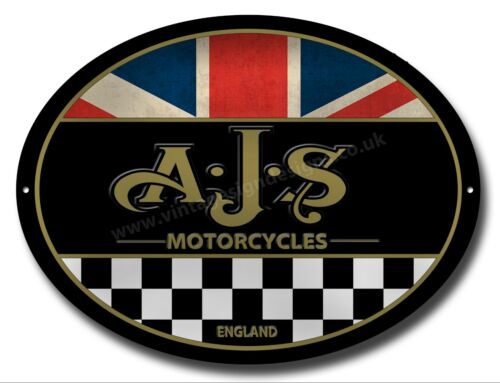 AJS MOTORCYCLES MACHINE CUT OVAL METAL SIGN.VINTAGE MOTORCYCLES. UNION JACK .