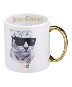 Huge-18-Oz-Juicy-Couture-White-Tiger-BLING-IT-ON-Mug-Gold-Highlights-Script-NEW