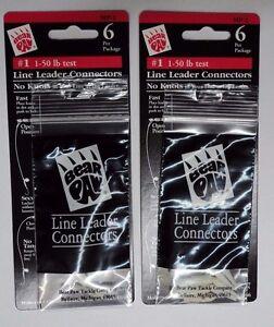 No Knots #MP-1 TWO Packs Bear Paw Line Leader Connectors #1 1-50 lb test