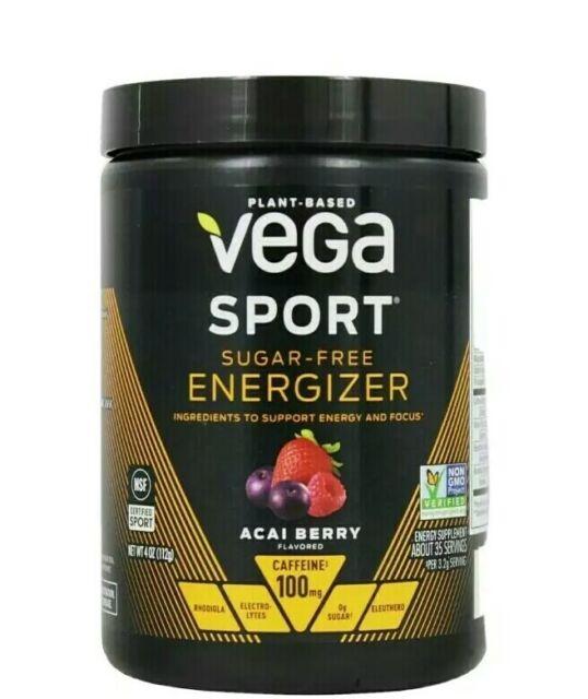 Vega Sport Sugar Free Energizer Acai Berry Powder 35servings 4oz Exp7/21