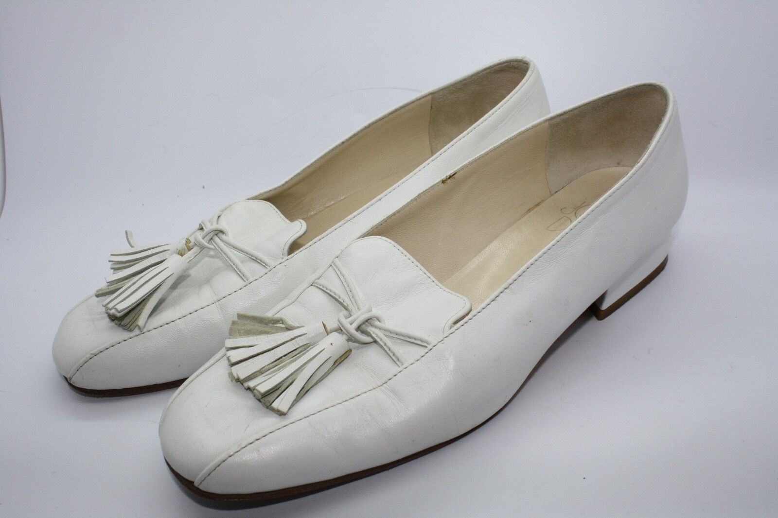 JOAN & DAVID Vtg WEISS Leder Flat Loafers Classic Fringed Tassel Sz 7.5M
